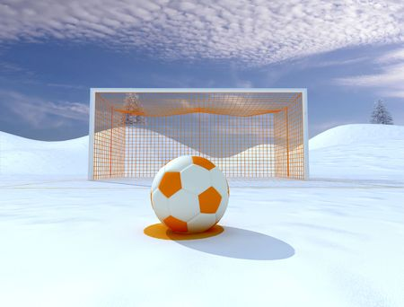 half ball: penalty on winter soccer field - digital artwork