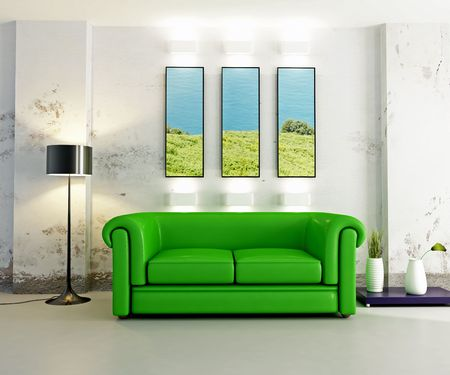 settee: modern interior with green sofa - digital artwork