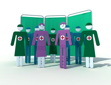 medical team: female and male medical team on white background Stock Photo