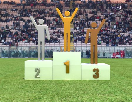 winners podium: Three human figure on podium in the stadium - digital artwork