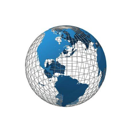 wireframe globe: wireframe globe isolated on white background