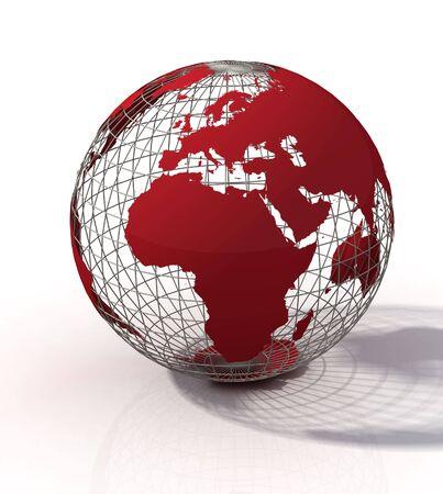 wireframe globe: red wireframe globe isolated on white background
