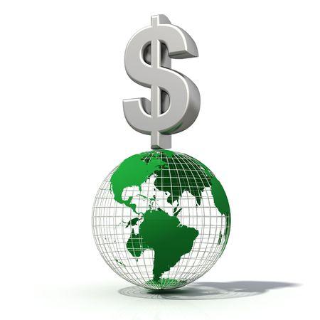 wireframe globe: Dollar symbo on wire-frame globe isolated on white