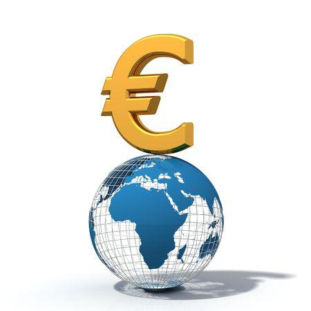 wireframe globe: euro symbol over wire-frame globe