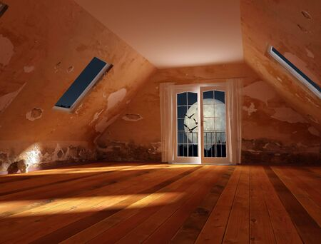 attic: attic of an old house the night of  with skull Stock Photo