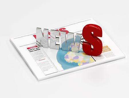 news logo on newspaper isolated on white -digital artwork Stock Photo - 3701491