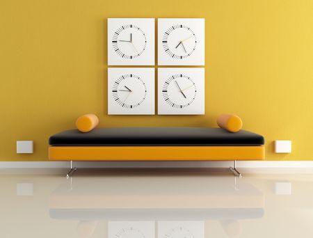 four  modern clock and velvet sofa - digital artwork photo