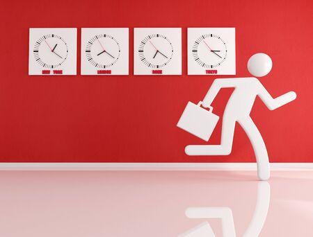 toward: Conceptual businessman races fast toward the exit Stock Photo