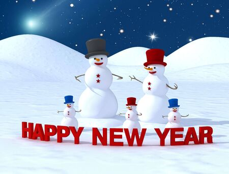 Happy new year from happy  of snowman Stock Photo - 3765973