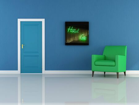 attended: Blue corridor of an hotel - digital artwork Stock Photo