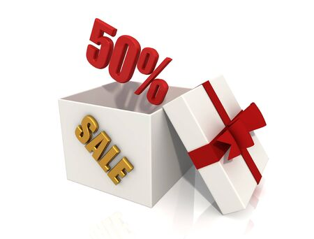 shopping concept - open box with discount - digital artwork Stock Photo - 4007630