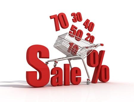 Shopping cart full of percentage Stock Photo - 4007632