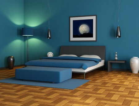 Contemporary blue  bedroom,digital artwork. The picture art on wall is a my photo. Stock Photo - 4188213