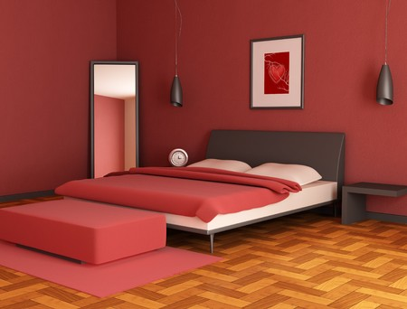 modern red bedroom Stock Photo - 4188214