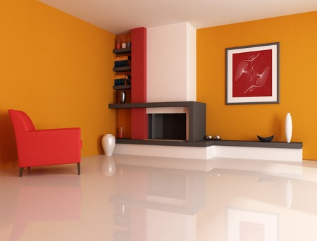Modern fireplace ina orange living room with picture in the wall - digital artwork. The picture art on wall is a my photo. Stock Photo - 4246911