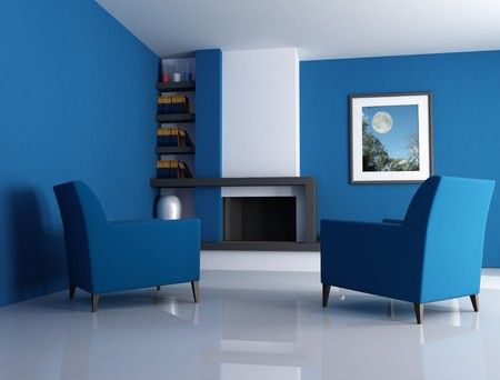 Modern fireplace ina blue living room with picture in the wall - digital artwork. The picture art on wall is a my photo. Stock Photo - 4246913