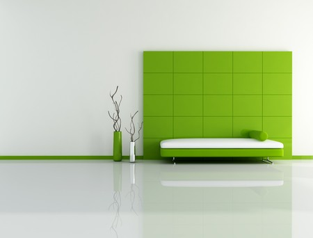 minimal green living room with sofa panel and vase - digital artwork photo