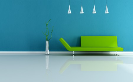 green couch: green sofa in a blue minimal livingroom