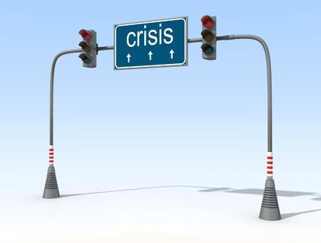 crisis economica: conceptual-sem�foro rojo de la crisis econ�mica Foto de archivo