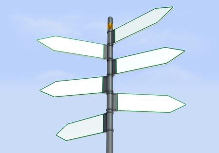 Detail der Blanko-Richtungs-Wegweiser