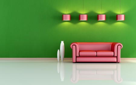 red sofa: red sofa in a minimal room - rendering