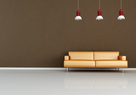 modern sofa: modern orange couch against brown wall - rendering Stock Photo