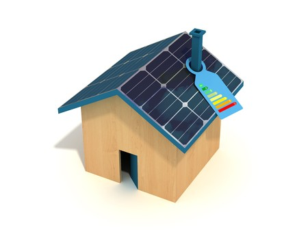 conceptual :photovoltaic house with label of energetic certification