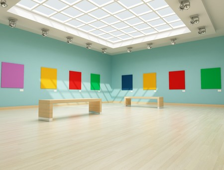 skylight: modern art gallery with colred empty canvas