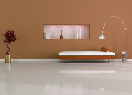 modern interior with modern sofa and niche Stock Photo - 4410041