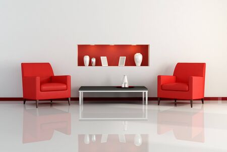 niche: two armchair in a living room with niche