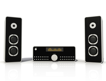 two black and silver audio speaker and amplifier Stock Photo