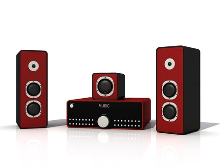 stereo subwoofer: red and black audio speaker and amplifier - digital artwork Stock Photo