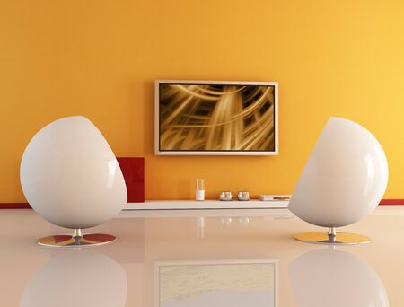 stereo subwoofer: two white armchair against lcd tv-the abstract composition on tv is a my image
