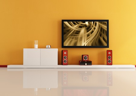 modern living room white home theatre system - digital artwork