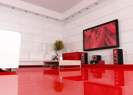 home furnishing: red and white living room with home theater , the image on tv screen is a my image - rendering