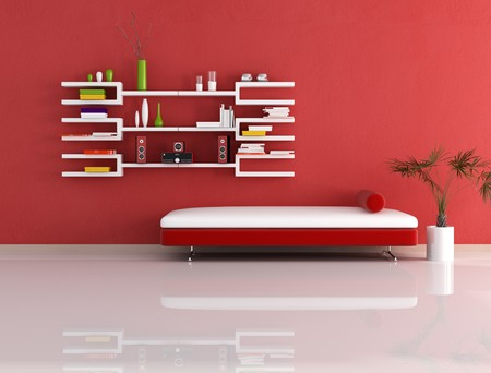 living room with modern couch and bookcase - rendering Stock Photo - 4548705