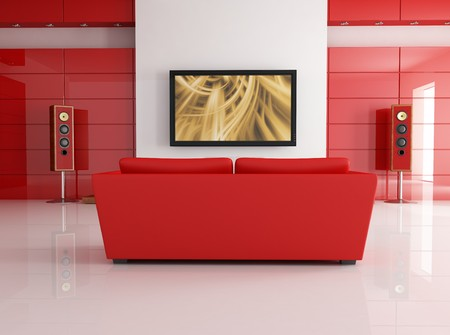 red leather sofa in a modern living room with home theatre system - digital artwork Stock Photo