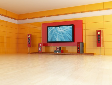 home entertainment: empty living room with home theatre system rendering