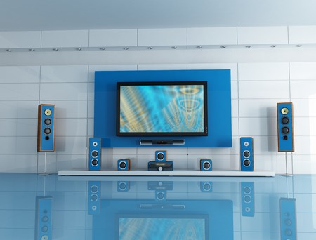 home entertainment: empty blue  living room with home theatre system - digital artwork