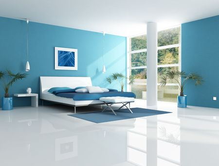 blue bedroom in a lake house - rendering Stock Photo - 4631057