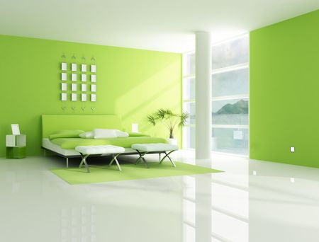 green bedroom in a holiday sea house - rendering Stock Photo - 4631052