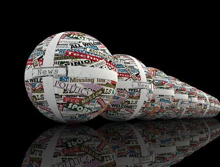 actuality: concettuale della sfera serie realizzata con ritagli di giornale - il rendering Archivio Fotografico