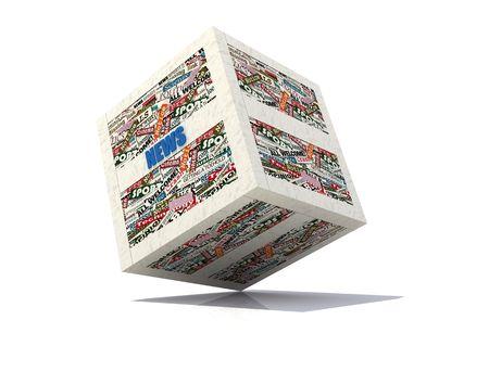 clippings: Noticias cubo realizado con recortes de peri�dico-rendering Foto de archivo