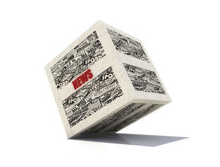 actuality: notizie cubo realizzato in bianco e nero con ritagli di giornale-rendering Archivio Fotografico