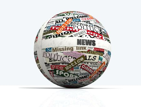 the latest: conceptual, sphere realized with clippings of newspaper - rendering