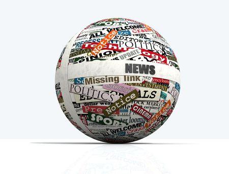 actuality: concettuale, la sfera realizzata con ritagli di giornale - il rendering