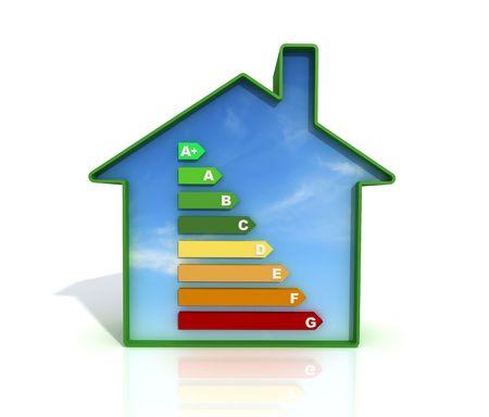 certification: s�mbolo de la certificaci�n energ�tica contra el cielo azul en una casa verde-haciendo Foto de archivo