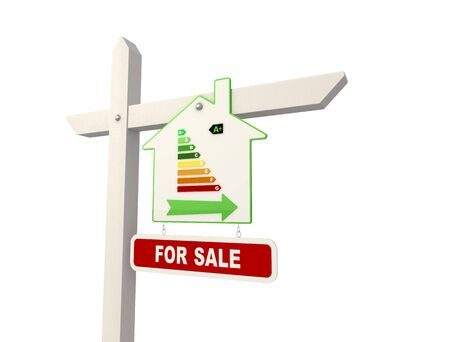 detail of ecological real estate sign - rendering Stock Photo