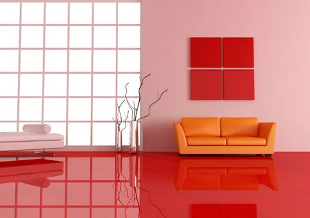 pomarańczowe skórzane kanapy w nowoczesnym salonie Zdjęcie Seryjne - 4762175