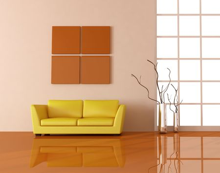 yellow couch in a modern living room - rendering Stock Photo - 4762184